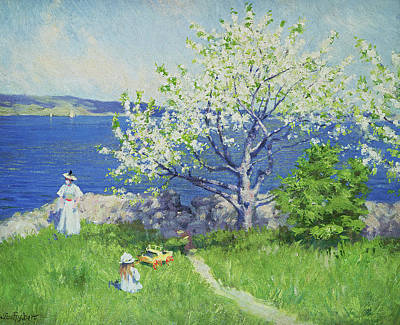 Mother And Daughter Painting - A Fjord Near Oslo by Paul Fischer