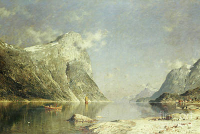Water Vessels Painting - A Fjord Scene by Adelsteen Normann
