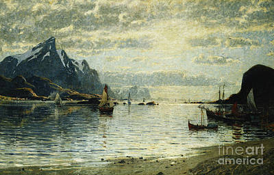A Fjord Scene With Sailing Vessels Art Print by Adelsteen Normann