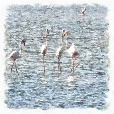 Painting - A Flamboyant Pat Of Flamingos by Tracey Harrington-Simpson