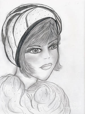 Drawing - A Flapper In Cap by Sonya Chalmers