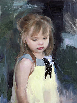 Toddler Portrait Painting - A Fleeting Moment by Anna Rose Bain