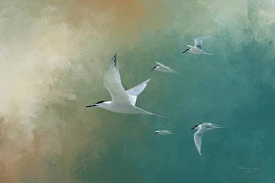 Waterfowl Photograph - A Flight Of Terns by Marvin Spates