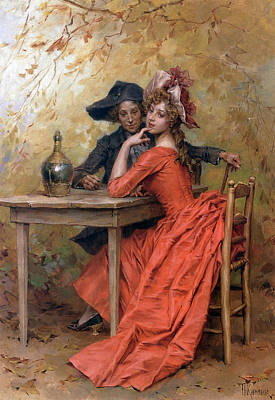 Lady In Red Painting - A Flirtation by Frederick Hendrik