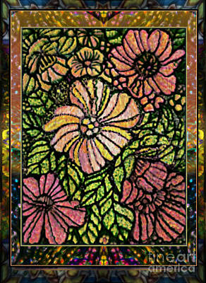 Montage Mixed Media - A Floral Night Tapestry by Wbk
