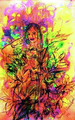 Painting - A Flower Among Flowers by Wanvisa Klawklean
