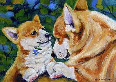 Pembroke Welsh Corgi Painting - A Flower For Mom by Lyn Cook