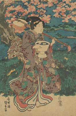 Japanese Woodblocks Painting - A Flower Game In The Garden by Utagawa Kunisada
