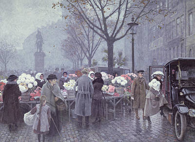 Shoppers Painting - A Flower Market by Paul Fischer