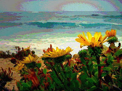 Photograph - A Flowery View Of The Surf Watercolor by Joyce Dickens
