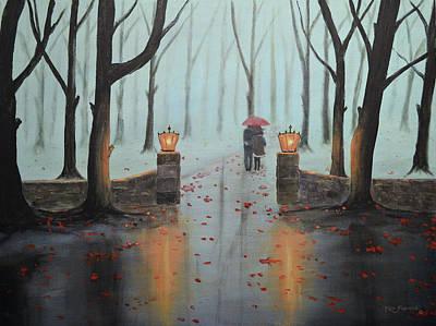 Snowy Painting - A Foggy Autumn Evening by Ken Figurski