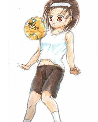Sports Drawing - A Football Girl by Hisashi Saruta