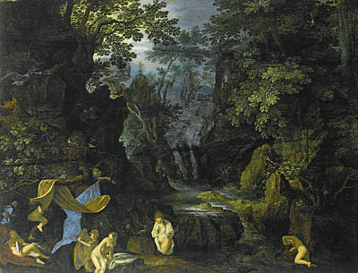 Leda And The Swan Painting - A Forest Landscape With Bathing Nymphs And Leda And The Swan by Roelandt Savery