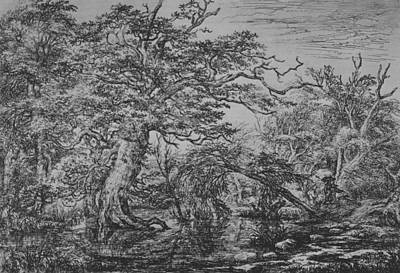 Relief - A Forest Marsh With Travelers On A Bank by Jacob van Ruisdael