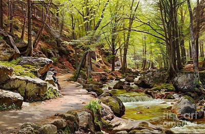 Rock Painting - A Forest Near Ilsenburg In The Harz by Celestial Images