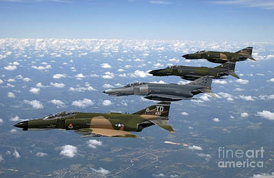In A Row Photograph - A Formation Of F-4 Phantom II Fighter by Stocktrek Images