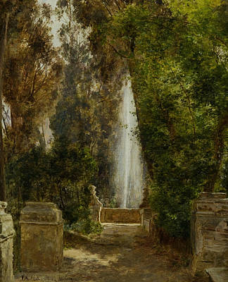 Painting - A Fountain At The Villa D'este In Tivoli by Janus la Cour