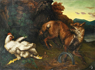 Painting - A Fox Caught In A Trap by Gustave Courbet