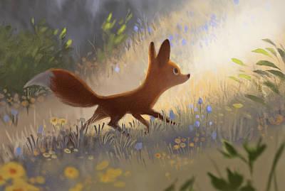 A Fox In The Flowers Print by Janna Mattia