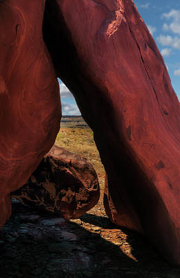 Photograph - A Frame Rocks With Spaceman Petroglyph by Gary Warnimont