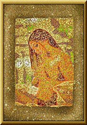 Digital Art - A Framed Pointillis Nude by Mario Carini