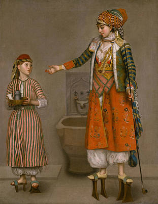 Painting - A Frankish Woman And Her Servant by Jean-Etienne Liotard