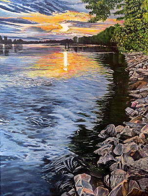 Painting - A Fraser River Sunset by Marilyn McNish