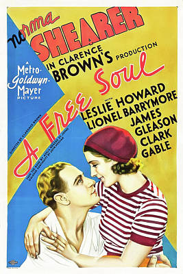 Classic Film Star Mixed Media - A Free Soul 1931 by Mountain Dreams