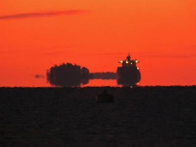 Photograph - A Freighter At Dawn by Mark Alan Perry