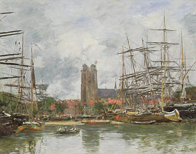 Reflecting Water Painting - A French Port by Eugene Louis Boudin