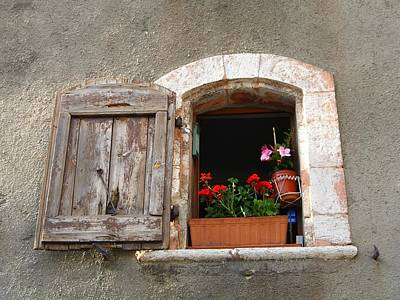 A French Window With Flowers Original by Jonathan Galente