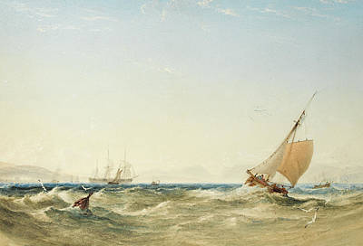 A Fresh Breeze Off The Coast Of Scotland Art Print by Anthony Vandyke Copley Fielding