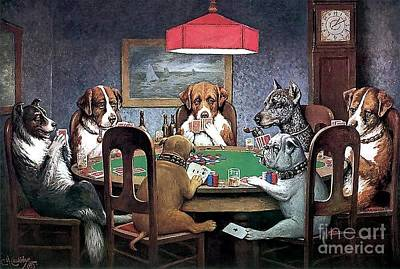 Poker Painting - A Friend In Need by Cassius Marcellus Coolidge