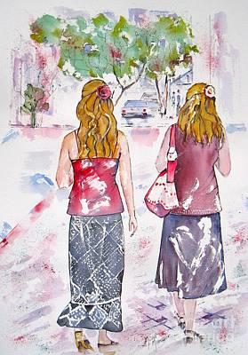 Painting - A Friendly Walk by Mona Mansour Jandali