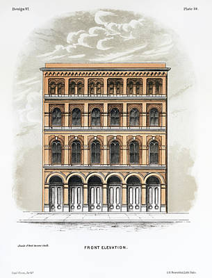 Drawing - A Frontal View Of A Suburban Store Built With Bricks by Samuel Sloan