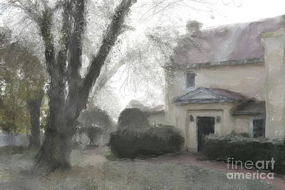 Digital Art - A Frosty Foggy Morning At The Manor House by Lois Bryan