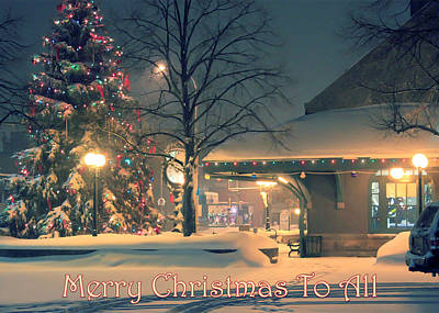 Photograph - A Frosty Merry Christmas To All Card by Bonnie Follett