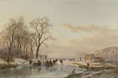 Maas Painting - A Frozen Canal Near The River Maas by Celestial Images