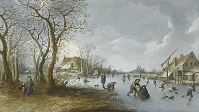 Painting - A Frozen River Landscape With A Man Pushing His Wife Along The Ice In A Sledge by Pieter de Bloot