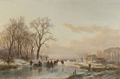 Maas Painting - A Frozen Waterway Near The Maas, C. 1867 by Andreas Schelfhout