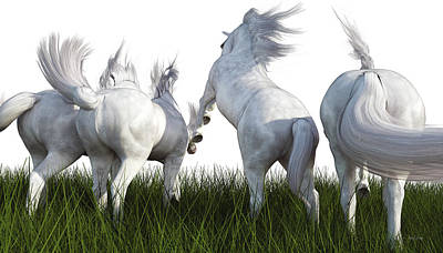 Prancing Digital Art - A Furlong Behind by Betsy Knapp
