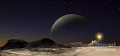 A Futuristic Space Scene Inspired Art Print by Frank Hettick