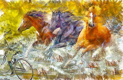 Painting - A Gallop In The Wate by Ben Rotman