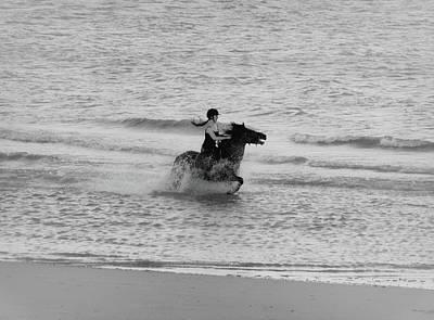 White Stallion Photograph - A Gallop by Martin Newman