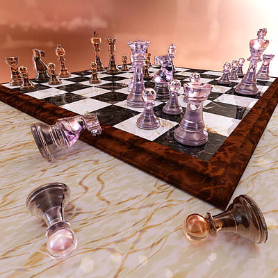 Marble Chess Boards Digital Art - A Game Of Chess by Bonnie Phantasm