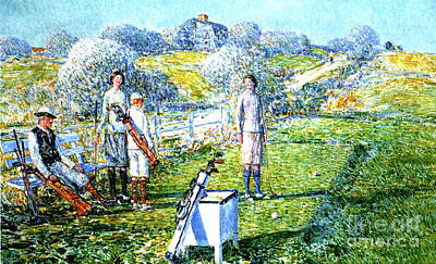 A Game Of Golf, 1923 Print by Childe Hassam