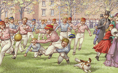 Rugby Painting - A Game Of Rugby Football Being Played At Rugby School by Pat Nicolle