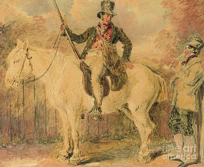 Conversing Painting - A Gamekeeper On A Horse And Another Man Conversing by William Henry Hunt