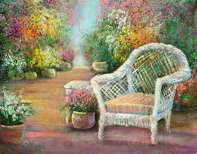A Garden Chair Art Print by Sally Seago