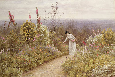 Foxgloves Painting - A Garden In October, Aldworth, 1891 by Helen Allingham